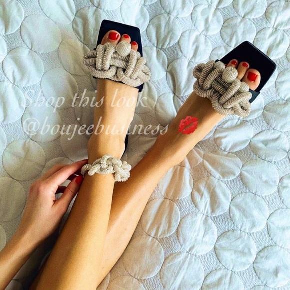 H&M Satin Beaded Slides